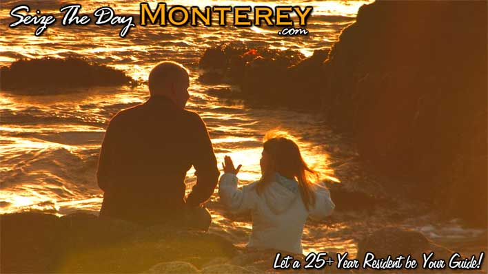 A Father and Daughter enjoying quality time taking in an Asilomar Sunset in Monterey Bay!